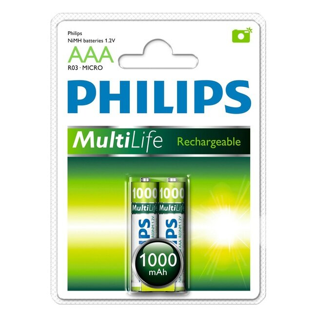 Аккумулятор AAA Philips MultiLife Ni-MH R03 1000mAh 2 шт (цена за 1шт) 1