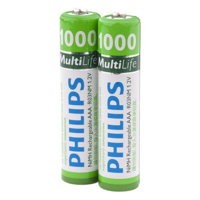 Аккумулятор AAA Philips MultiLife Ni-MH R03 1000mAh 2 шт (цена за 1шт) 11900