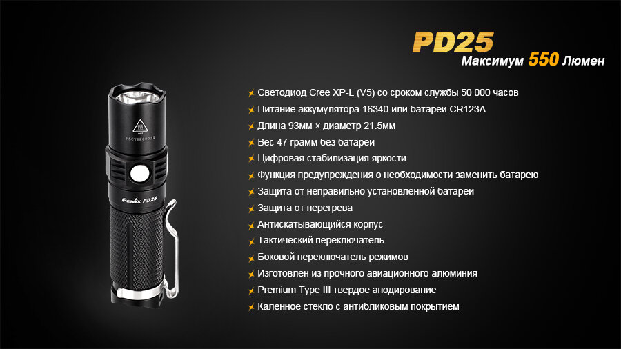 Фонарь Fenix PD25 Cree XP-L 1628