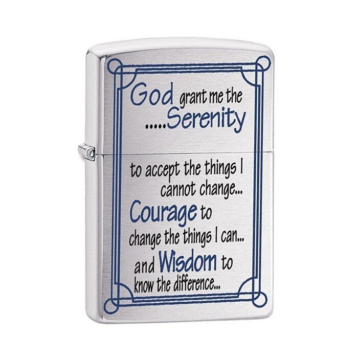 Зажигалка Zippo 200, Serenity Prayer Brushed Chrome, 24355 1