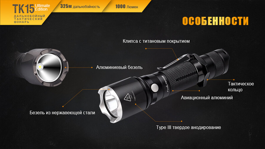 Фонарь Fenix TK15UE CREE XP-L HI V3 LED Ultimate Edition 13646