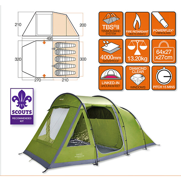 Палатка Vango Drummond 500 Herbal 23808