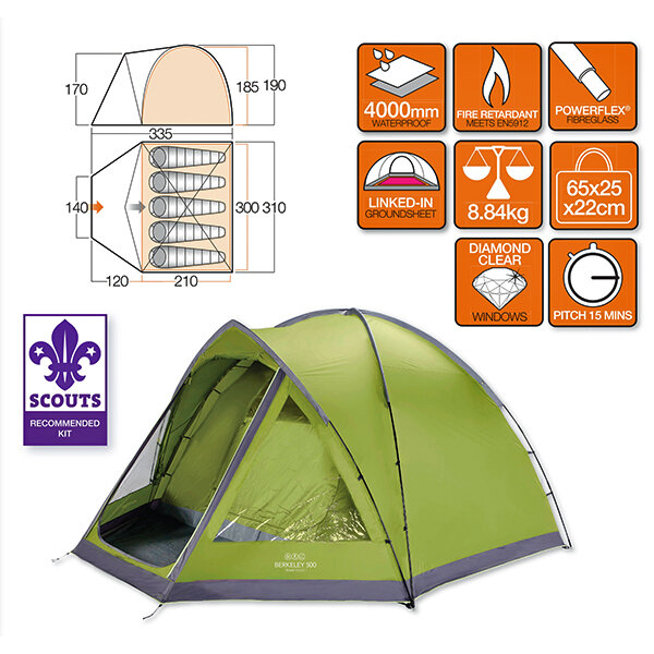 Палатка Vango Berkeley 500 Herbal 23811