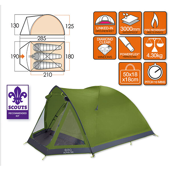 Палатка Vango Alpha 300 Herbal 23819