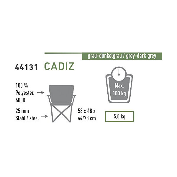 Стул High Peak Cadiz (Gray/Dark gray) 23842