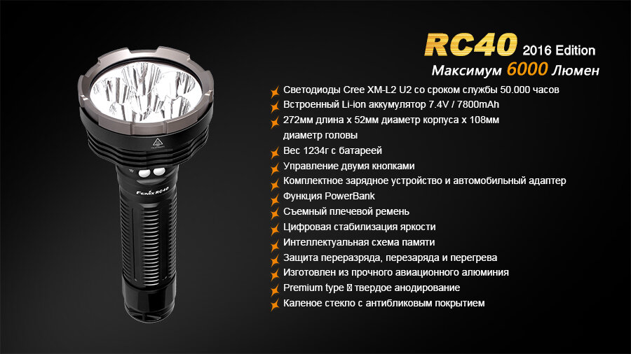 Фонарь Fenix RC40 Cree XM-L2 U2 LED 10802