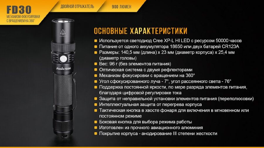 Фонарь Fenix FD30 Cree XP-L HI LED 30436
