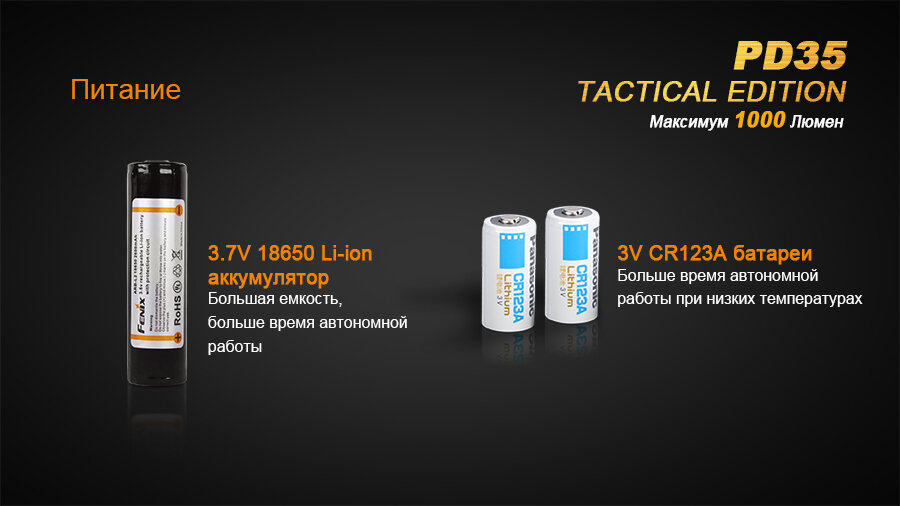Фонарь Fenix PD35 Cree X5-L (V5) TAC (Tactical Edition) 1661